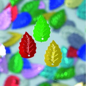 Paljetter löv relief 12 x 18 mm - flera färger blandade 2 g / ~ 33 st.