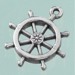 Plastamulett ø 27 mm - åldrat silver 4 st. skeppshjul