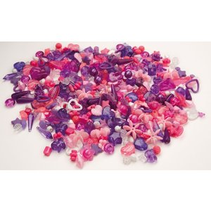Plastpärlor lila & rosa