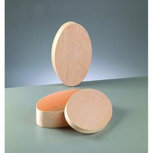Plywoodask ø 250 x 150 mm H 60 mm - obehandlat oval