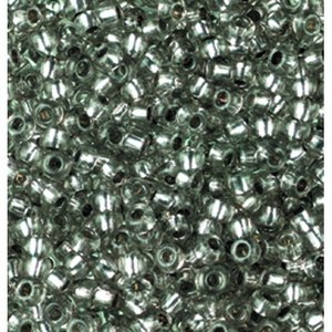 Rocaillespärlor silverlinjerade - grå 17