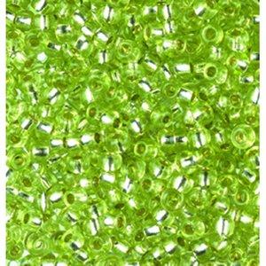 Rocaillespärlor silverlinjerade - ljusgröne