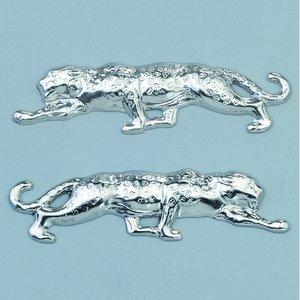 Smycke 42 x 9 mm - silverfärgad 2 st. leopard höger / l