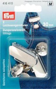 Snickarbyx-/Overallspänne stål silverfärg 30 mm 2 st