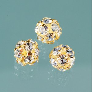 Strass boll med hål 8 mm - guld