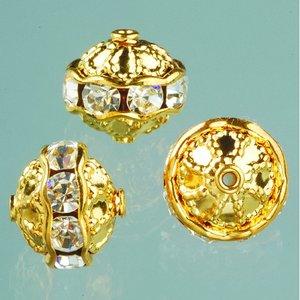Strasspärlor filigran 10 mm - kristall / guld 2 st.