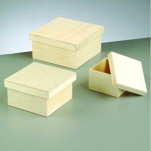 Trälåda set 16 x 16 x 8 cm - obehandlat 3 delar