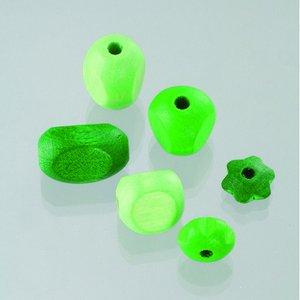 Träpärlor - grönmix 30 st. färg-form mix
