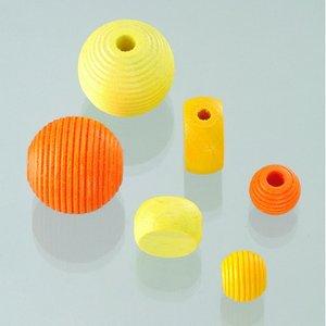Träpärlor - gulmix 25 st. färg-form mix