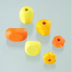 Träpärlor - gulmix 30 st. färg-form mix