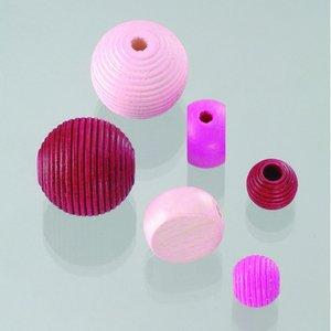 Träpärlor - rosamix 25 st. färg-form mix