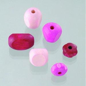 Träpärlor - rosamix 30 st. färg-form mix