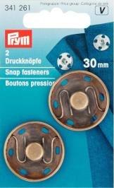 Tryckknappar (fastsys) mässing 30mm ant.br 2 st