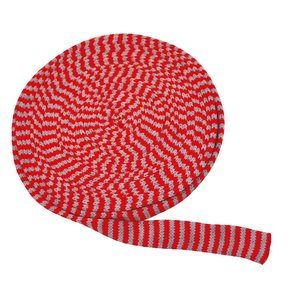 Tubstickad väv 3 cm röd/grå