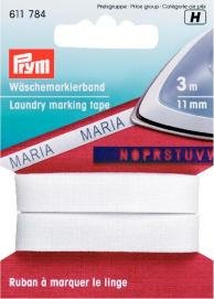 Tvättmärkningsband påstrykes CO 11mm vit 3 m