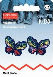 Tygmärke Blå fjärilar liten 2 st