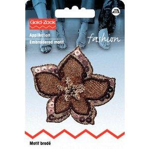 Tygmärke Blomma brun organza med paljetter