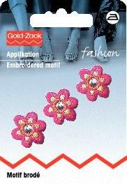 Tygmärke Blomma liten rosa med spegel 3 st