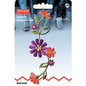 Tygmärke Blomstjälk stor lila/terrakotta