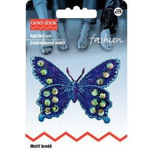 Tygmärke Fjäril lila/blå med paljetter