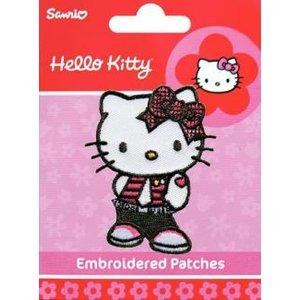 Tygmärke Hello Kitty mörkröd blommor