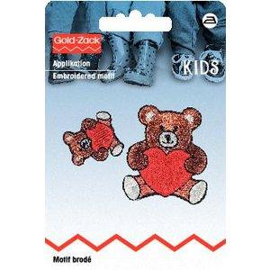 Tygmärke Nallebjörn med hjärta liten och stor 2 st