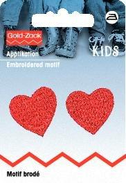 Tygmärke Röda hjärtan liten 2 st