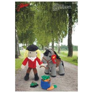 """Virkmönster - """"Amigurumi"""" ryttare & häst med tillbehör"""