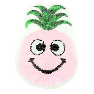 Paljettmärke Vändbart - Pineapple Pink