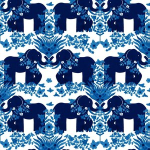 Mönstrad Trikå 150 cm - Elefant Blå