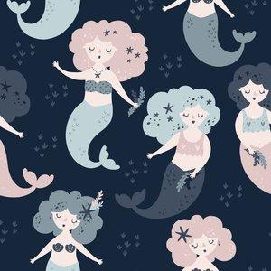 Mönstrad Trikå 150 cm - Mermaid Mörkblå