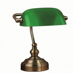 Bankers bordslampa liten (Antikmässing)