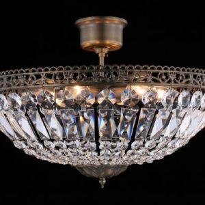 Classic kristallplafond mellan (Antikmässing)