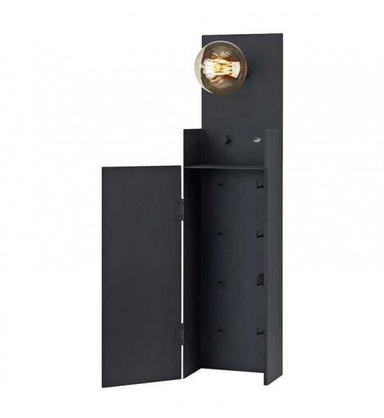 Combo vägglampa/nyckelskåp (Svart)