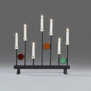 Elljusstake 7 lj svart metall / färgad (Flerfärgad)